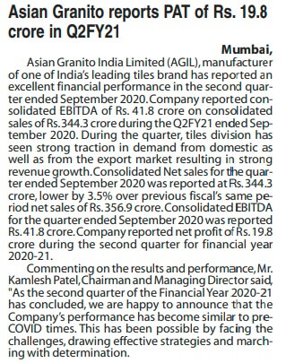 Asian Granito reports PAT of RS. 19.8 crore in Q2FY21 - 07