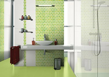 Cosmic Green Bathroom tiles