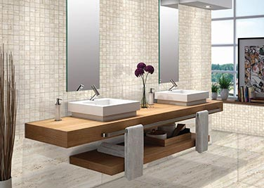 Wood and Marble Mixture Bathroom tiles